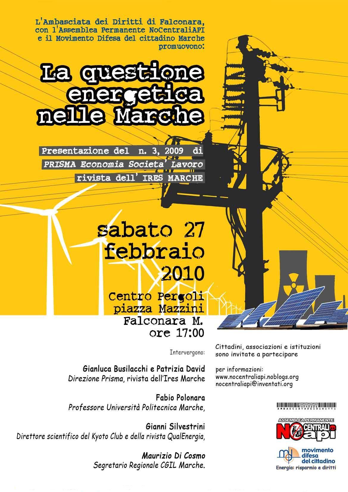Locandina LA QUESTIONE ENERGETICA nelle MARCHE